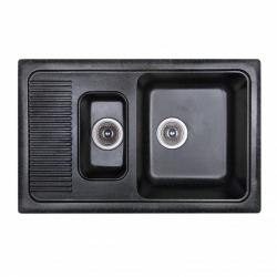 Кухонная мойка двойная Fosto 77x49 SGA-420, черная (14746)