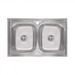 Кухонная мойка двойная Imperial 5080 Decor из нержавеющей стали (16552)