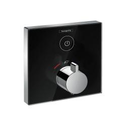 Термостат для одного потребителя Внешняя часть Hansgrohe Shower Select (15737600), стеклянный, СМ, черный/хром