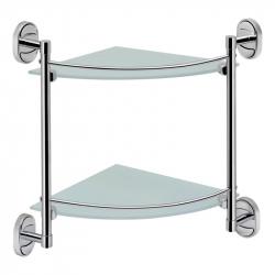 Полочка стеклянная угловая с ограничителем двухярусная Lidz (CRG) 114.10.02