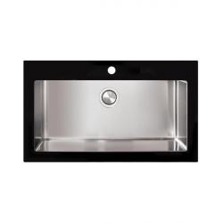 Кухонная мойка Apell Pura (PUG861IBC) 870х510 фронтальная часть стекло BLACK, pop-up механизм, brushed