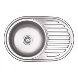Мойка кухонная Lidz 7750 0.8мм Micro Decor из нержавеющей стали