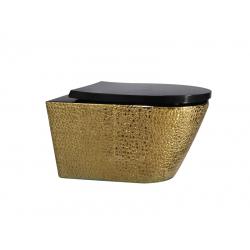 Унитаз подвесной ASIGNATURA Exclusive Rimless золото с декором с сиденьем 57802803