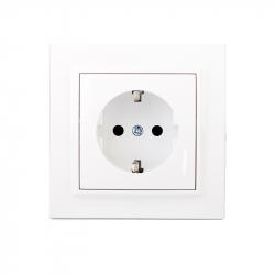 Розетка с заземлением термопластик Electro House Enzo белая (EH-2109Р)
