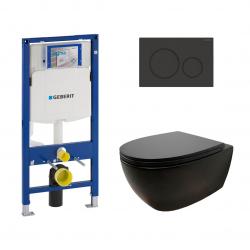 Комплект унитаз подвесной Globo 4ALL и инсталляция Geberit Duofix Sigma20, чёрный (MDS03AR/MDR20AR + 115.882.16.1/111.300.00.5)