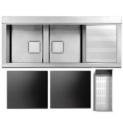 Кухонная мойка Apell Sinphonia (PD1162IRKITB) 1160х500 RIGHT, две стеклянные поверхности BLACK, дуршлаг, satin