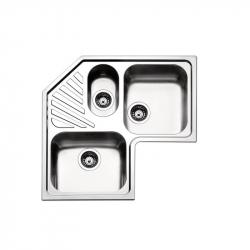 Кухонная мойка двойная угловая с дополнительной чашей Apell Angolo (ROAN3IBC) 830х830х500, brushed