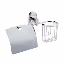 Держатель для освежителя и туалетной бумаги с крышкой Lidz (CRM) 113.03.02