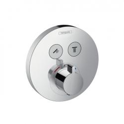 Термостат для двух потребителей Hansgrohe Shower Select S 15743000, стеклянный, СМ белый/хром