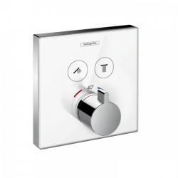 Термостат для двух потребителей Внешняя часть Hansgrohe ShowerSelect (15738400), стеклянный, СМ белый/хром