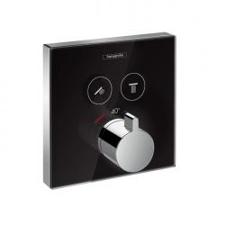 Термостат для двух потребителей Внешняя часть Hansgrohe ShowerSelect (15738600), стеклянный, СМ черный/хром