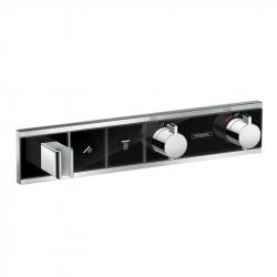 Термостат для двух потребителей Hansgrohe RainSelect 15355600, стеклянный, СМ белый/хром