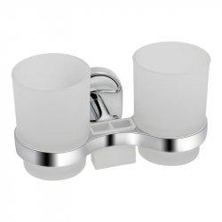 Стакан стеклянный двойной Lidz (CRG)-114.04.02 с держателем щеток