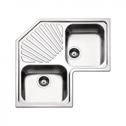 Кухонная мойка двойная угловая Apell Angolo (ROAN2IBC) 830х830х500, brushed
