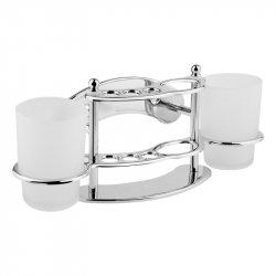 Стаканы настенные стеклянные Lidz (CRM)-114.08.11 с держателем для щеток и пасты