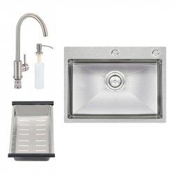 Кухонная мойка Qtap D6045 SET (интегрированная) Satin + смеситель, сушка, диспенсер