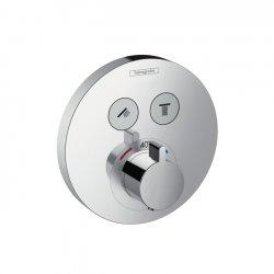 Термостат для двух потребителей Hansgrohe ShowerSelect S (15743000), стеклянный, СМ белый/хром