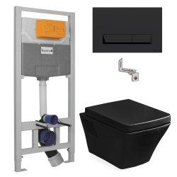 Комплект VOLLE TEO унитаз подвесной черный и инсталляция MASTER NEO (13-88-422black и i8122B)